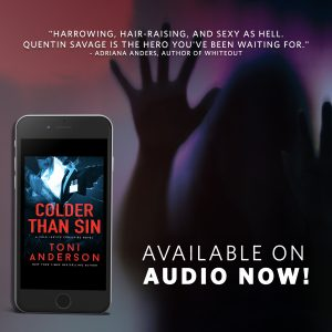 Graphic for Colder Than Sin in audio with silhouette of woman reaching out with her hand up